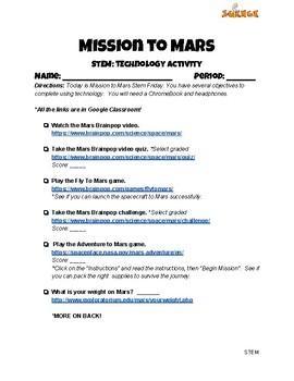 Mission to Mars STEM Technology Activity