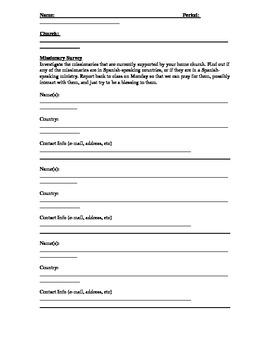 Missionary Survey Form