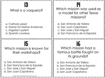 Spanish Missions Task Cards