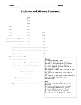 Missions of Texas Crossword Puzzle