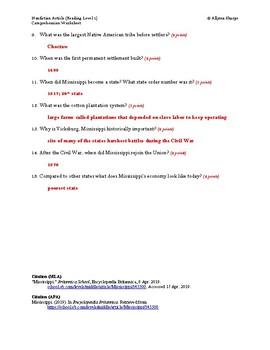 Mississippi Article (Reading Level 1) Comprehension Worksheet