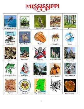 Mississippi Bingo:  State Symbols and Popular Sites