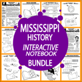 Mississippi History State Study Interactive Notebook Unit + AUDIO