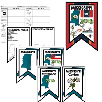 Mississippi History Word Wall, State Profile, Activity Pages