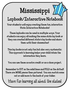 Mississippi Lapbook/Interactive Notebook.  US State History and Geography