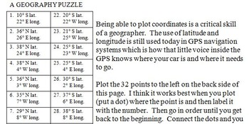 Mississippi Latitude and Longitude Coordinates Puzzle - 32 Points to Plot