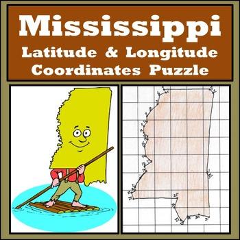 Mississippi Latitude and Longitude Coordinates Puzzle - 32