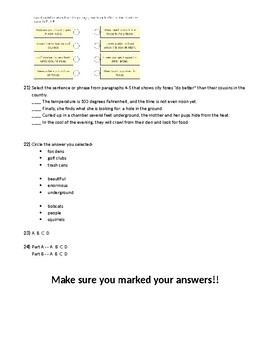 Mississippi MAAP online Item Sampler Answer Sheet