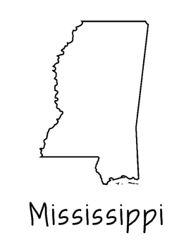Mississippi Map Coloring Page Craft - Lots of Room for Note-Taking