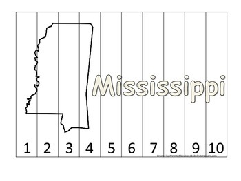 Mississippi Number Sequence Puzzle.  Learn the States preschool printable game.