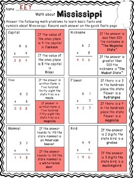 Math about Mississippi State Symbols through Multiplication Practice
