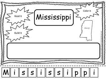 Mississippi Read it, Build it, Color it Learn the States preschool worksheet.