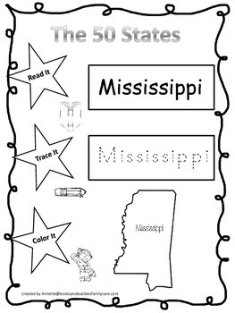 Mississippi Read it, Trace it, Color it Learn the States preschool worksheeet.