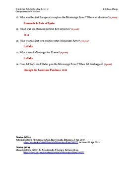 Mississippi River Article (Reading Level 1) Comprehension Worksheet