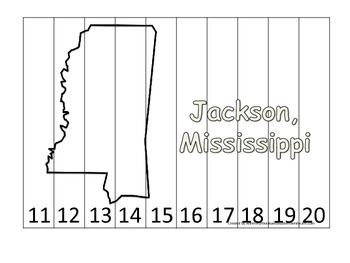 Mississippi State Capitol Number Sequence Puzzle 11-20.  Geography and Numbers.