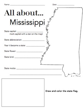 Mississippi State Facts Worksheet: Elementary Version