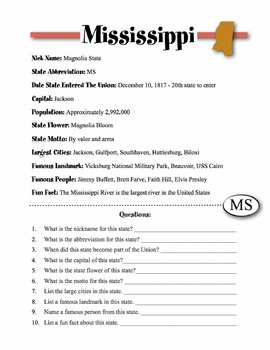 Mississippi State Information & Worksheet