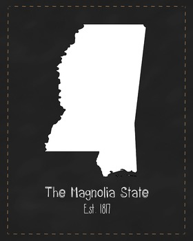 Mississippi State Map Class Decor, Government, Geography, Black and White Design