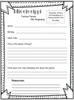 Mississippi State Research Report Project Template *bonus timeline Craftivity MS