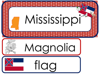 Mississippi State Word Wall Bulletin Board Set. Geography Curriculum.
