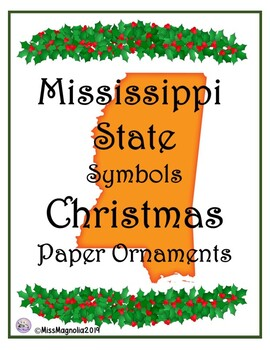 Mississippi Symbols Paper Christmas Ornaments