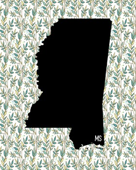 Mississippi Vintage State Map or Poster Class Decor Decoration