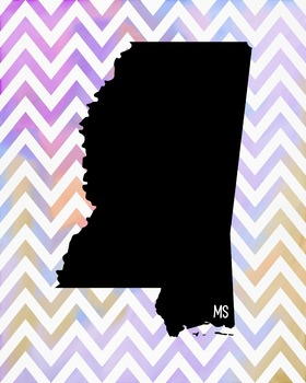 Mississippi Chevron State Map Class Decor, Government, Geography