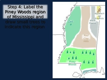 Mississippi state Map Activity- fun, engaging, follow-along 14-slide PPT