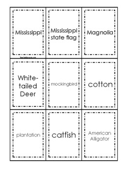 Mississippi themed Memory Matching and Word Matching preschool curriculum game