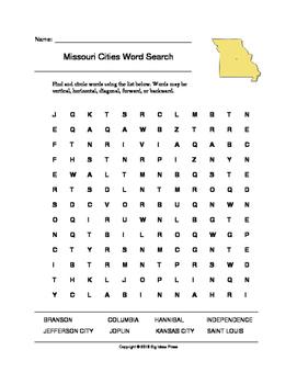 Missouri Cities Word Search (Grades 3-5)