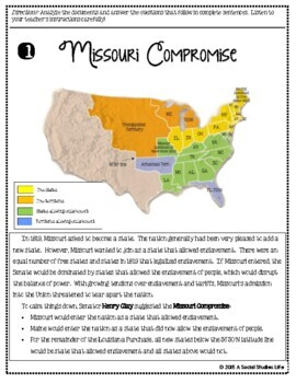 Missouri Compromise Map Activity Image missouri compromise ...