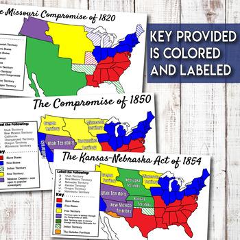 Missouri Compromise Compromise of 1850 Kansas-Nebraska Act Map Activity