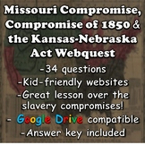 Missouri Compromise, Compromise of 1850, and the Kansas-Nebraska Act