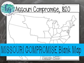 missouri compromise map activity by history gal tpt. Black Bedroom Furniture Sets. Home Design Ideas