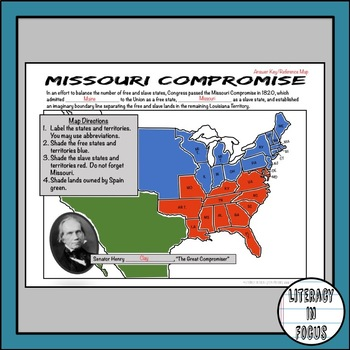 missouri compromise map lesson by literacy in focus tpt. Black Bedroom Furniture Sets. Home Design Ideas