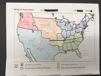 Missouri Compromise:  Map and Questions