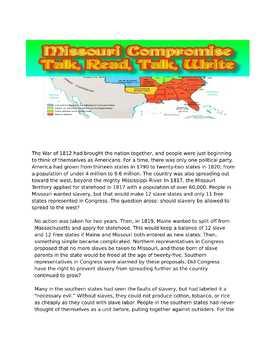 Missouri Compromise:  Talk, Read, Talk Write