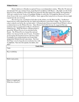 Missouri Compromise, Texas Annexation, Wilmot Proviso, Compromise of 1850