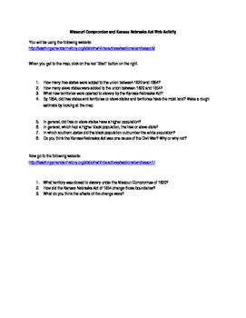 Missouri Compromise and Kansas Nebraska Act Web Activity