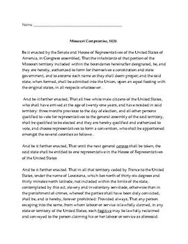 Missouri Compromise of 1820 Worksheet