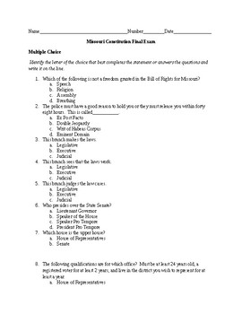 Missouri Constitution Final Test