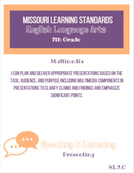 "Missouri ELA  - 7th Grade ""I Can"" Standards Statements"