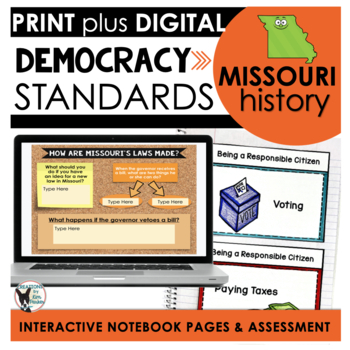 Missouri History: Democracy Standards Interactive Notebook Pages Grade 3