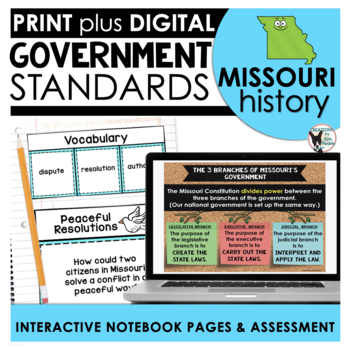 Missouri History: Government Standards Interactive Notebook Pages Grade 3