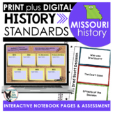 Missouri History: History Standards Interactive Notebook Pages Grade 3