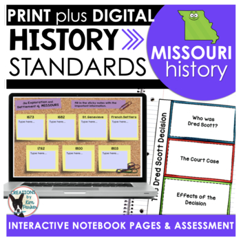 Missouri History: History Standards Interactive Notebook P