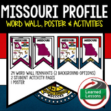 Missouri History Word Wall, State Profile, Activity Pages