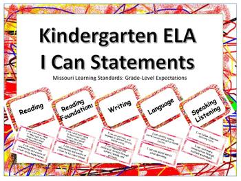 Missouri Kindergarten ELA I Can Statements