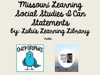 Missouri Learning Standards 4th Grade Social Studies I Can Statements
