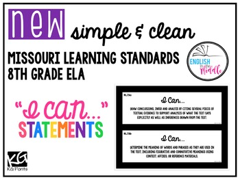 Missouri Learning Standards 8th Grade ELA (Editable)